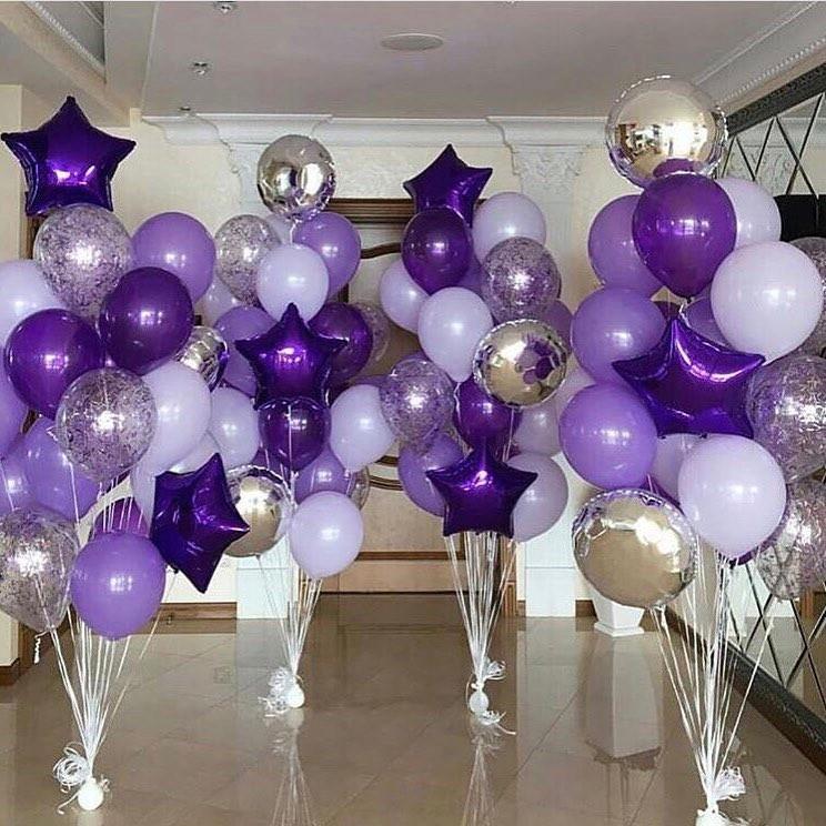 Фонтаны в фиолетово-белом исполнении