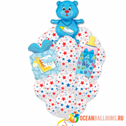 Букет «Новорожденному Мальчику!» из 18 воздушных шаров