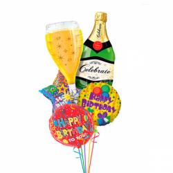 Букет «Поздравляю» из 5 фольгированных воздушных шариков на день рождения