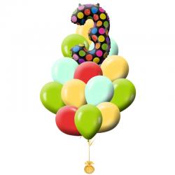 Букет «Дата» из 18 воздушных шариков и фольгированной фигуры в виде цифры