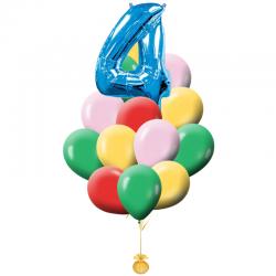 Букет «С Днем Рождения-2!» из 21 разноцветных воздушных шариков на день рождения