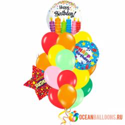 «Happy Birthday» Композиция из 13 шариков на день рождения