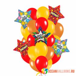 Букет на День рождения «Звезды» из 40 воздушных шаров