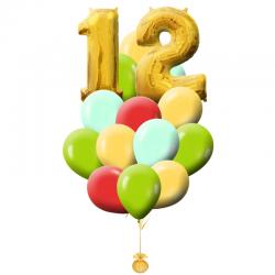 Букет «Цвета» из 20 разноцветных шариков и фольгированная цифра