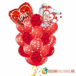 Букет из шариков «I Love You» на 14 февраля