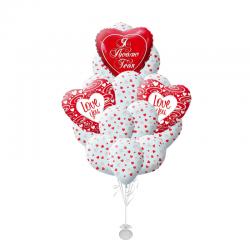Букет «Признание-2!» 25 гелиевые шары с рисунком сердечки:)