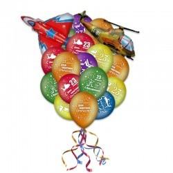 Букет из шаров на 23 февраля «Летчик»