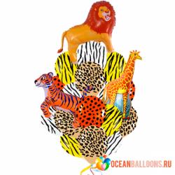 Букет «Зоопарк» из 20 ярких гелевых воздушных шаров и 3 фигур
