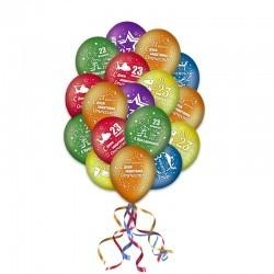Разноцветные гелиевые шары на 23 февраля