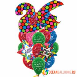 Букет «В день рождения» из 19 воздушных шаров на день рождения