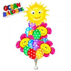 Букет «Солнечная  улыбка» из 19 шаров