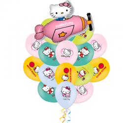 Букет «Летающий Hello Kitty» из 21 шаров