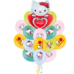 Букет Hello Kitty НА СЕРДЦЕ из 21 шаров