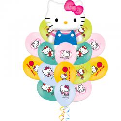 Букет «Котенок Китти с бантиком» из 21 шаров