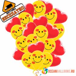 Букет «Сердечки и смайлы» из 30 шаров