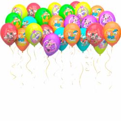 Разноцветные воздушные шарики под потолок Дисней 100 штук