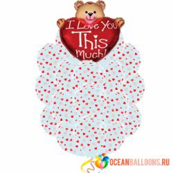 Букет «Медвежонок с большим сердцем» из 29 шаров