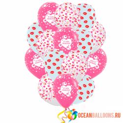 Букет «Романтика» из 40 воздушных шаров на 14 февраля