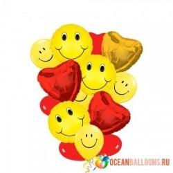Букет из шаров «Влюбленные Смайлы» на 8 марта