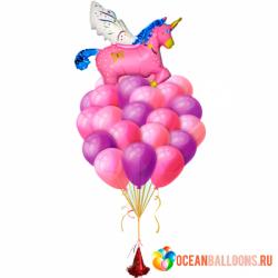 Букет «Розовый Единорог» из 21 шара