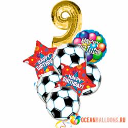 Букет из фольгированных шариков «С Днем Рождения, молодой футболист!»