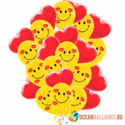25 воздушных шаров сердечки и смайлы 2