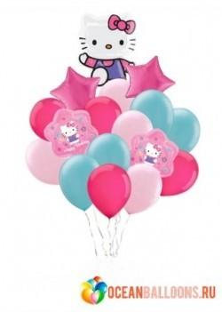 Букет «Поздравление от кошечки» из 20 шаров