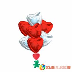 Букет из фольгированных шаров «Парящие сердца» на 8 марта