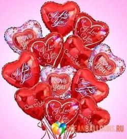 Букет «Влюбленным» из 15 фольгированных шариков