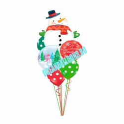 Букет «Веселый снеговик» из 18 шаров