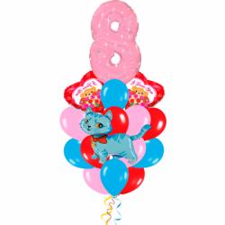 Букет «Женский день» из 12 гелиевых шаров  и 1 цифры к 8 марта