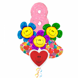 Букет «Весенний Праздник» из 6 фольгированных сердец и цифры