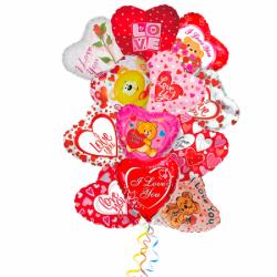 Букет «Нежное признание в праздник 8 Марта» из 15 фольгированных сердец