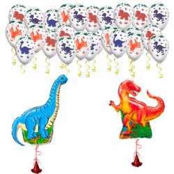 Букет «Поздравление от динозавров» из 70 шариков и 2 фигур