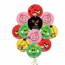 «Злые Птички-2» букет с 10 фольгированных шаров Angry Birds