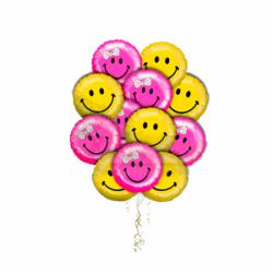 """Букет """"Великолепие смайлов"""" из 10 воздушных шаров"""
