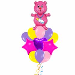Букет из шариков на рождение ребенка «Ласковый мишка»