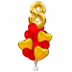 Сердечное поздравление букет из 24 шаров и сердечки