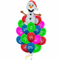 Букет на День Рождения «Поздравления от Олафа букет» из 26 шаров