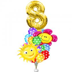 «Солнечный праздник» букет из 23 шаров на день рождения