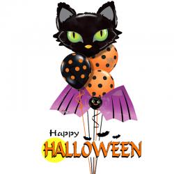Букет «Черный кот» из 17 воздушных шаров