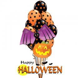 Букет на хэллоуин «Летучая мышь»  из 20 воздушных шариков