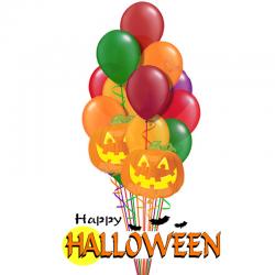 Букет на хэллоуин «Хэллоуинская тыква» из 22 воздушных шаров