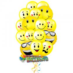 «Смайлики очаровашки» букет из 29 воздушных шаров смайликов