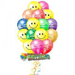 Радужный праздник букет из 30 воздушных шаров  на день рождения