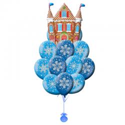 Композиция из 21 воздушных шариков на Новый год  «Домик в снежках»