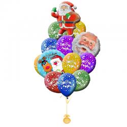 Композиция 20 воздушных шариков на новый год «ПОЗДРАВЛЕНИЯ ОТ САНТЫ»