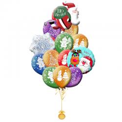 Букет 25  воздушных шариков на новый год «Санта на коньках»