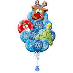 Букет из 23 воздушных шаров на Новый год «Олень в снежке»
