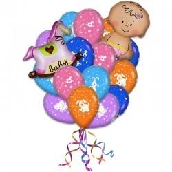 Букет «С рождением дочери» из 23 воздушных шаров  и 2 фигур